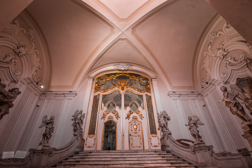 Interiors and frescoes of San Benedetto church in Catana