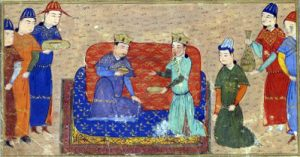 Genghis Khan and Toghrul Khan, illustration from a 15th-century Jami' al-tawarikh manuscript