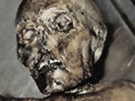 Close up of Ötzi the Iceman