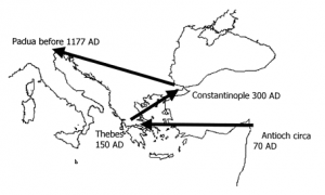 Map showing the travels of Saint Luke