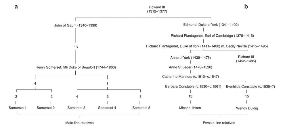 Family tree illustrating relations of King Richard III