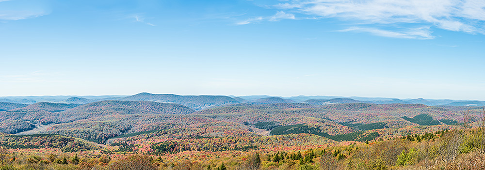 Panorama of Appalachian mountain valley in West Virginia