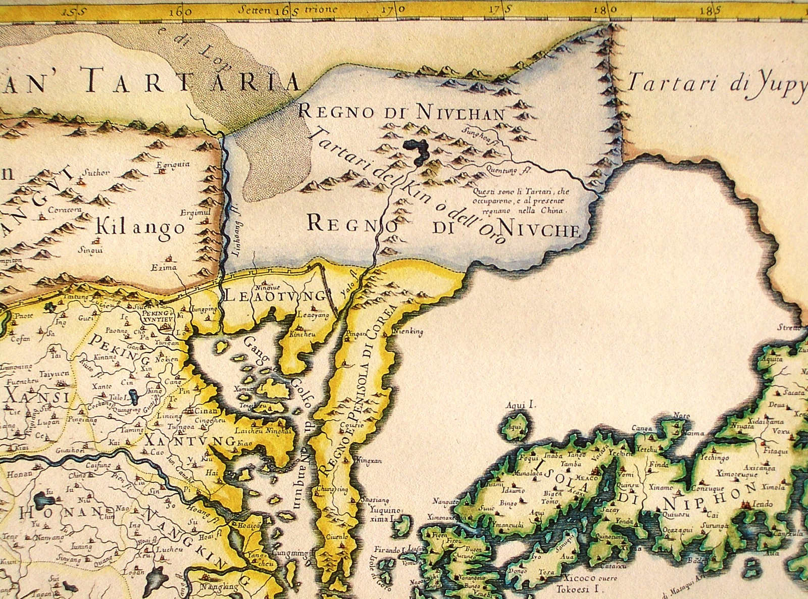 "An Italian map showing the ""Kingdom of the Nüzhen,"""