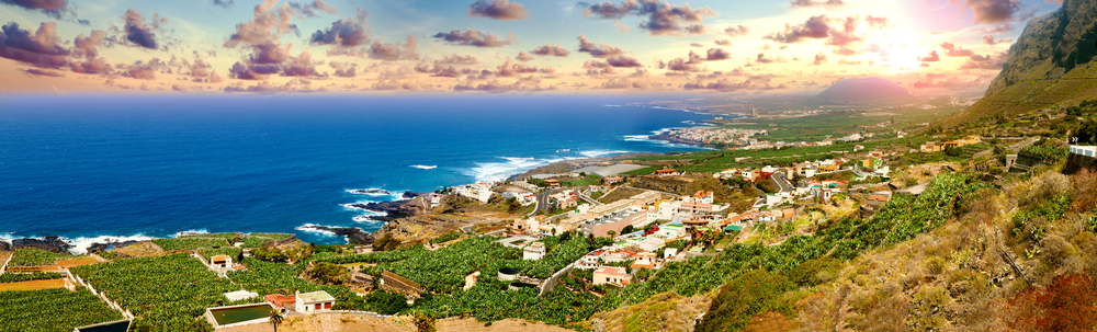 Sunset panorama village coast in Tenerife.