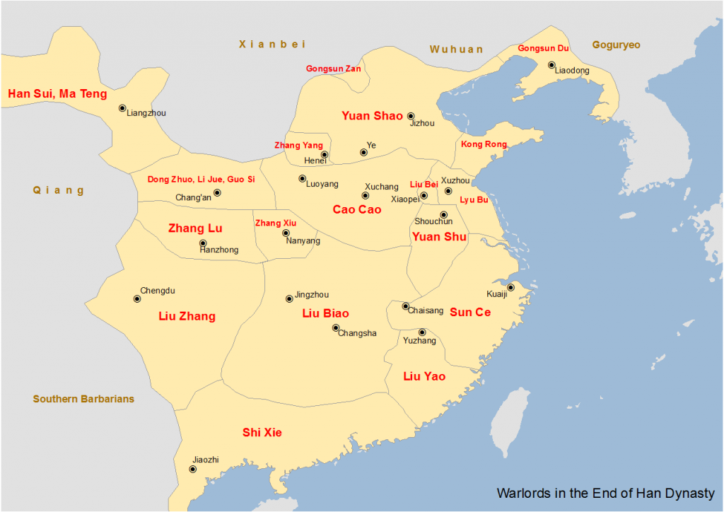 Map showing the major warlords of the Han dynasty in the 190s