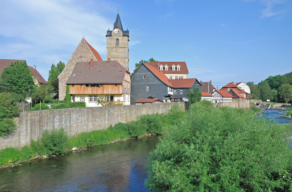 Village of Themar at Werra River,Thuringia,Germany