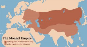 Map showing the expanse of the Mongol Empire