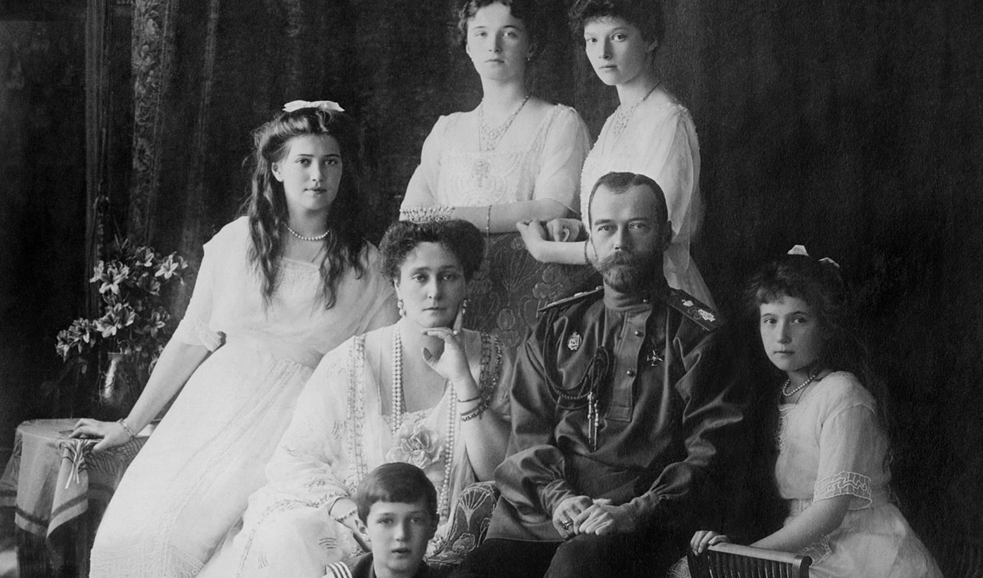 black and white photograph of the Romanovs