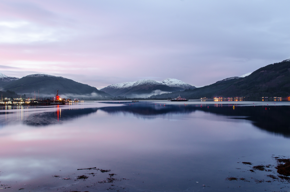 A view of Holy Loch, from Sandbank, near Dunoon in Argyll Scotland