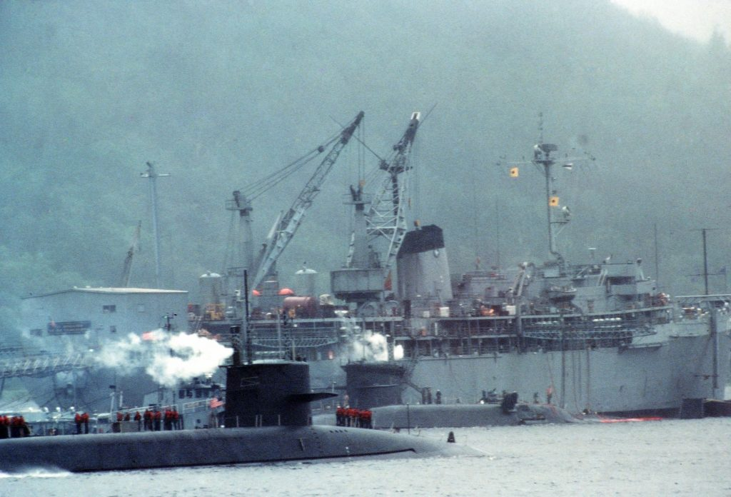 USS Hunley servicing at Holy Loch, Scotland (UK), 1981