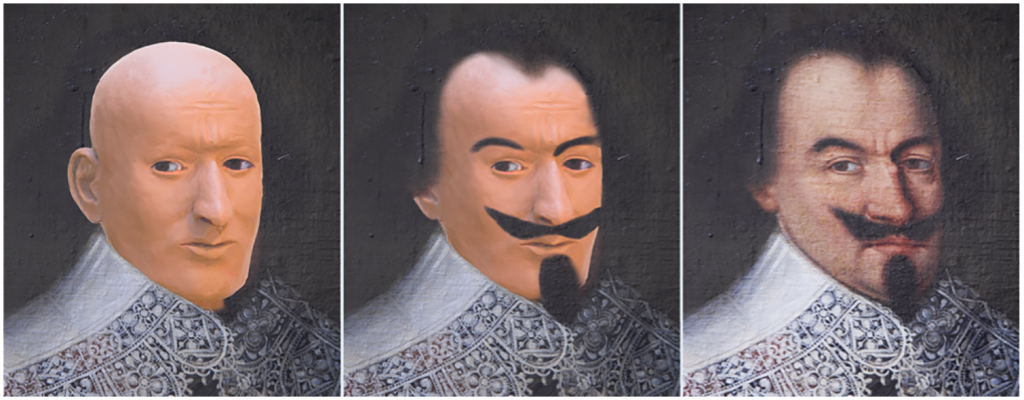 Comparison of the facial reconstruction with the portrait of Jörg Jenatsch