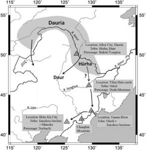 Possible early migration route of the ancestor of the Aisin Gioro clan