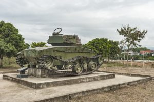 Remained french tank from the Indochina war (1954) at Dien Bien Phu, northern Vietnam