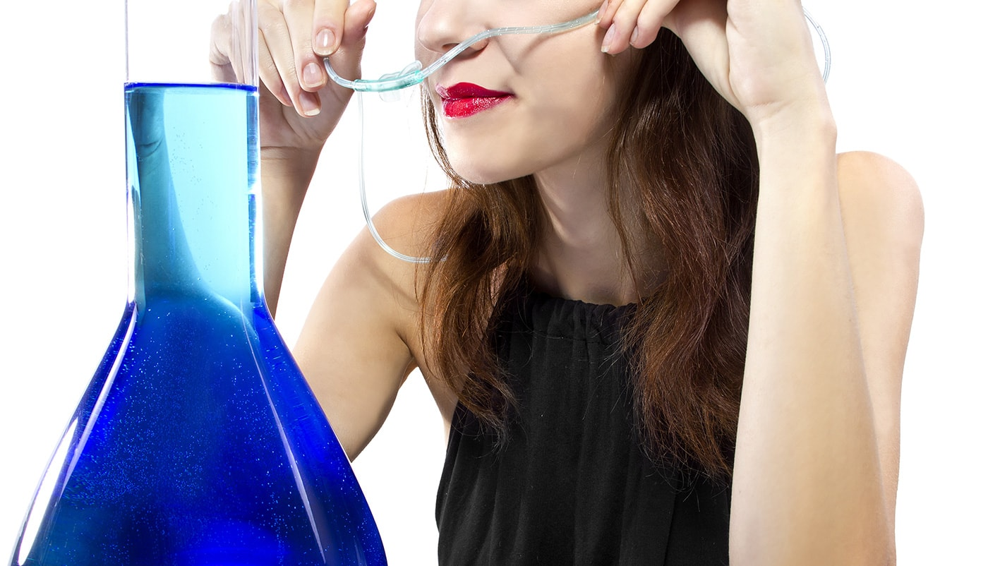 woman at an oxygen bar