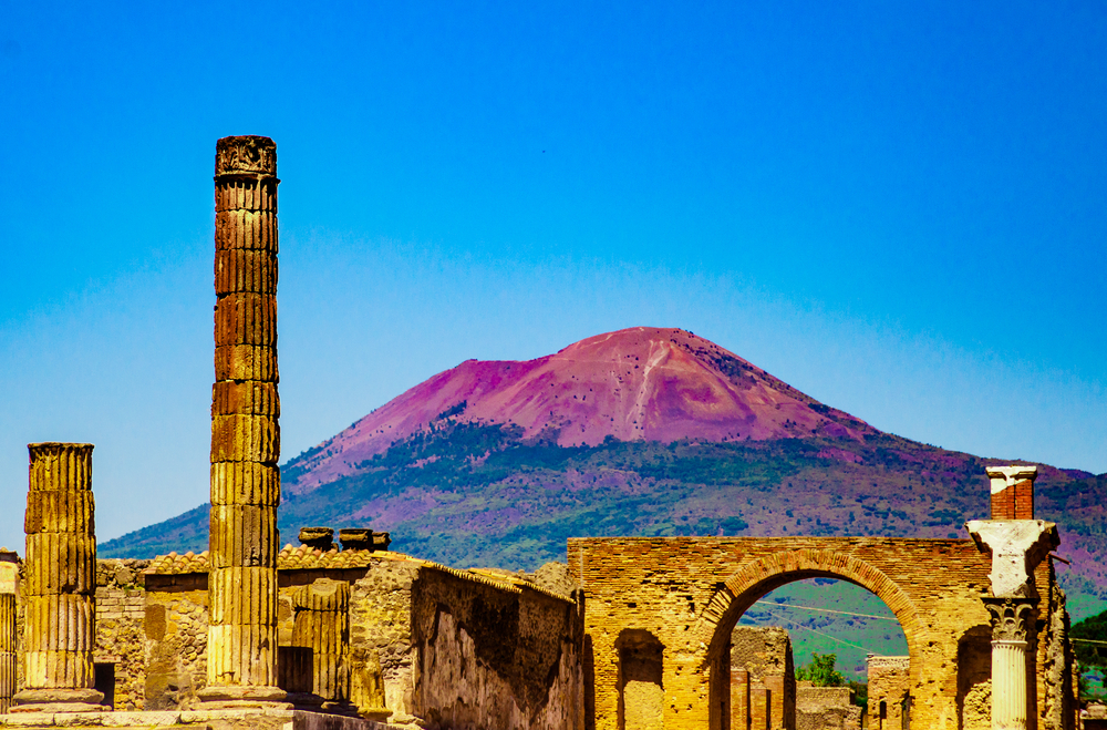 Antique site of Pompeii, with Mount Vesuvius in the background