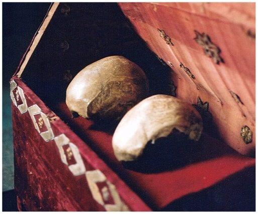 Putative skulls of St. Brigitta and St. Katarina