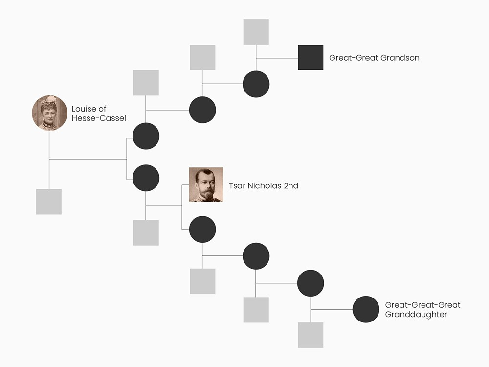 Family tree showing the maternal relationship between the Tsar and the two living maternal relatives.