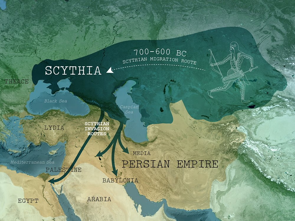 A map summarizing the movement of Scythians