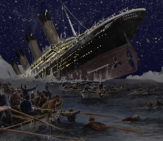 Drawing of the sinking of the Titanic